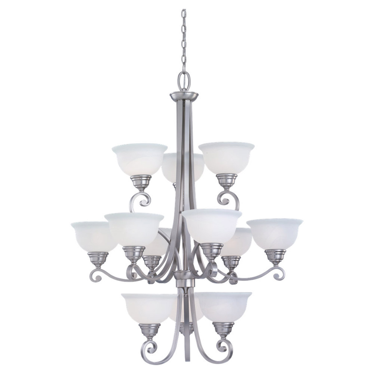 Sea Gull Lighting Serenity 12 Light Chandelier in Brushed Nickel 31193-962