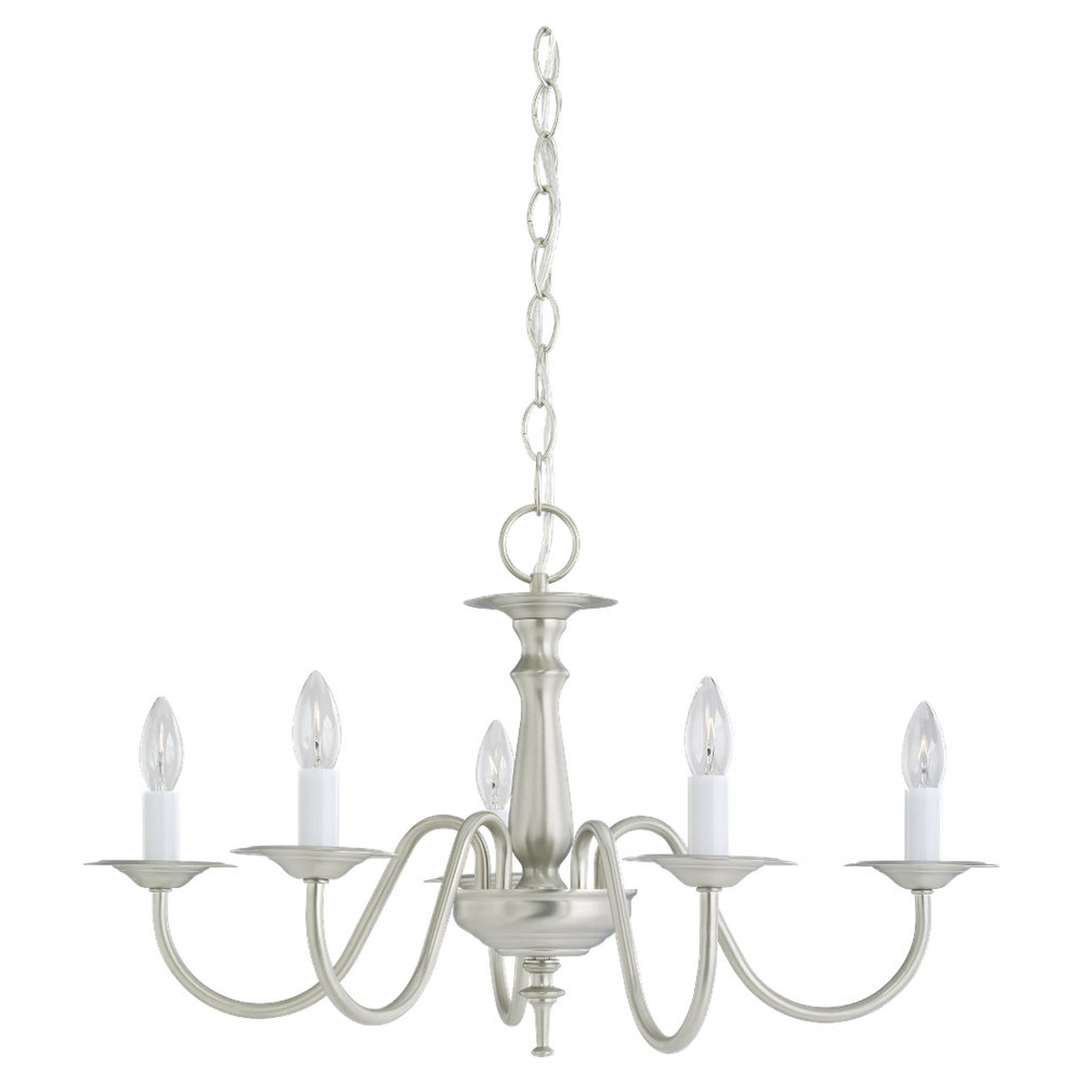 Sea Gull Lighting Traditional 5 Light Chandelier in Brushed Nickel 3121-962