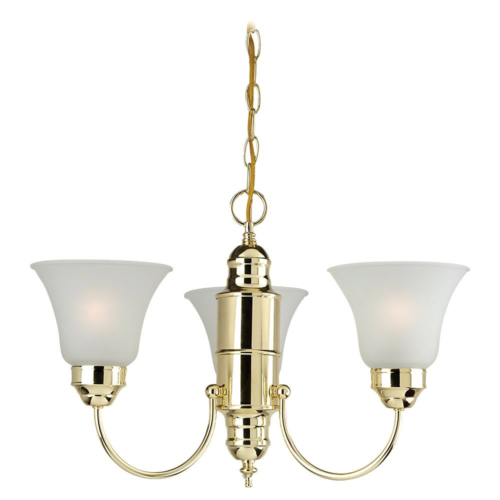 Sea Gull Lighting Linwood 3 Light Chandelier in Polished Brass 31235-02 photo
