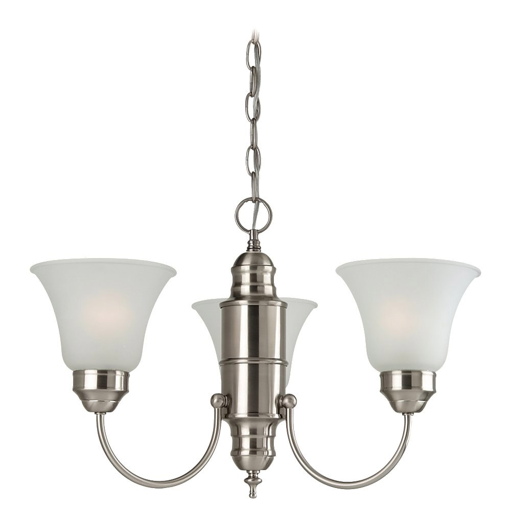 Sea Gull Lighting Linwood 3 Light Chandelier in Brushed Nickel 31235-962 photo