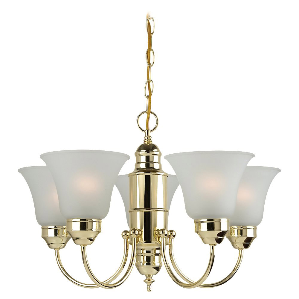 Sea Gull Lighting Linwood 5 Light Chandelier in Polished Brass 31236-02