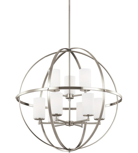 Sea Gull 3124609 962 Alturas 9 Light 33 Inch Brushed Nickel Chandelier Ceiling In Standard