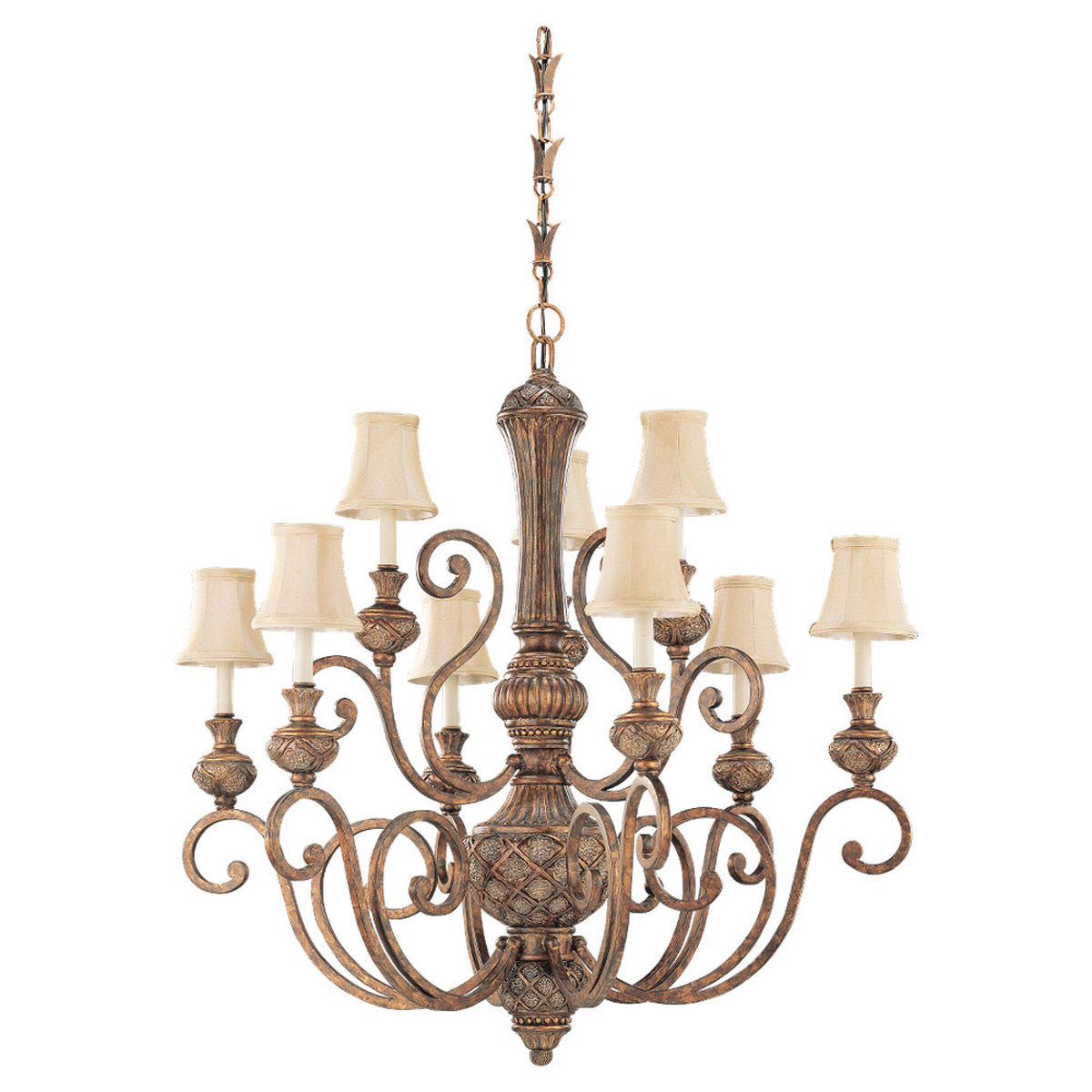 Sea Gull 31252-758 Highlands 9 Light 37 inch Regal Bronze Chandelier Ceiling Light in Fawn Fabric photo
