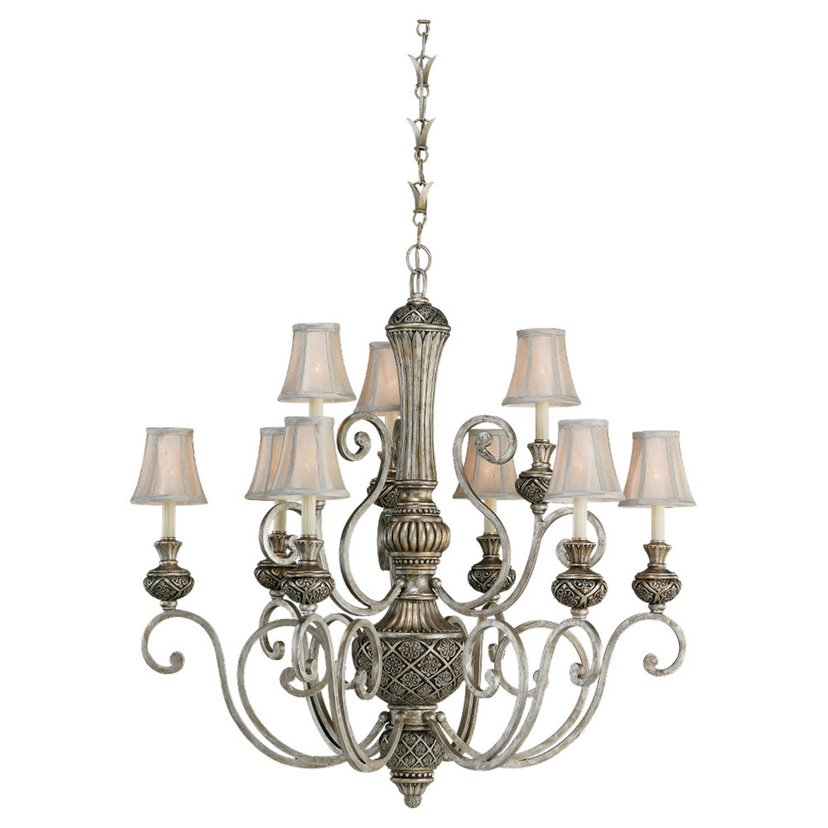 Sea Gull 31252-824 Highlands 9 Light 37 inch Palladium Chandelier Ceiling Light in Silver Silk Shantung Fabric photo