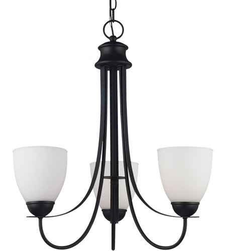 Sea Gull Lighting Uptown Fluorescent 3 Light Chandelier in Blacksmith 31270BLE-839