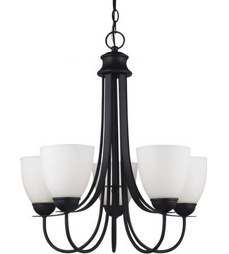 Sea Gull Lighting Uptown Fluorescent 5 Light Chandelier in Blacksmith 31271BLE-839 photo