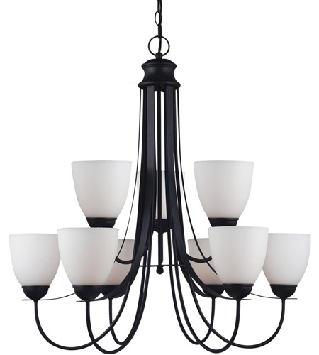 Sea Gull Lighting Uptown Fluorescent 9 Light Chandelier in Blacksmith 31272BLE-839