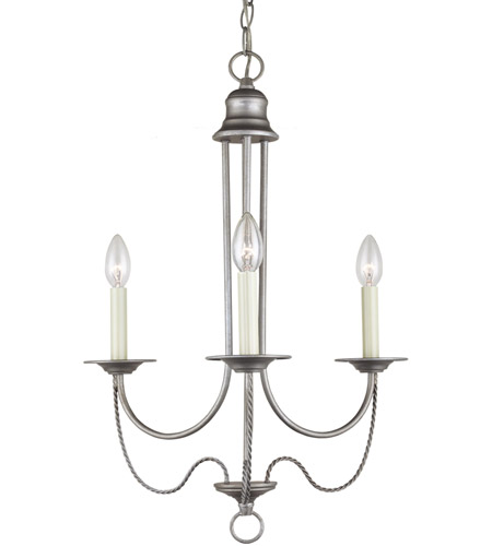 Sea Gull 31290-57 Plymouth 3 Light 20 inch Weathered Pewter Chandelier Ceiling Light photo
