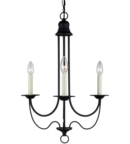 Sea Gull 31290-839 Plymouth 3 Light 20 inch Blacksmith Chandelier Ceiling Light photo