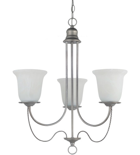 Sea Gull Lighting Plymouth 3 Light Chandelier in Weathered Pewter 31291-57 photo