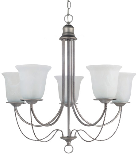 Sea Gull Lighting Plymouth Fluorescent 5 Light Chandelier in Weathered Pewter 31292BLE-57