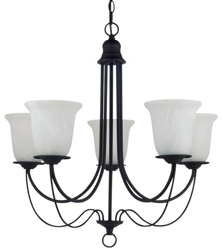 Sea Gull Lighting Plymouth Fluorescent 5 Light Chandelier in Blacksmith 31292BLE-839