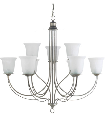 Sea Gull Lighting Plymouth 9 Light Chandelier in Weathered Pewter 31293-57 photo