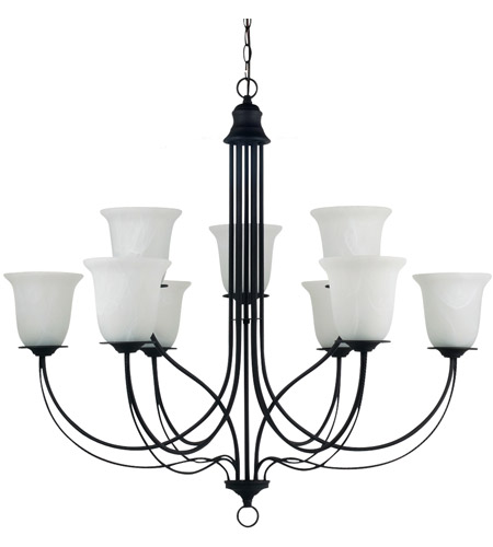 Sea Gull Lighting Plymouth Fluorescent 9 Light Chandelier in Blacksmith 31293BLE-839 photo