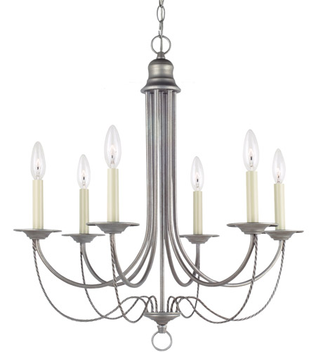 Sea Gull Lighting Plymouth 6 Light Chandelier in Weathered Pewter 31294-57 photo