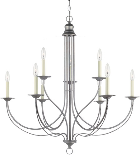 Sea Gull 31295-57 Plymouth 9 Light 34 inch Weathered Pewter Chandelier Ceiling Light photo