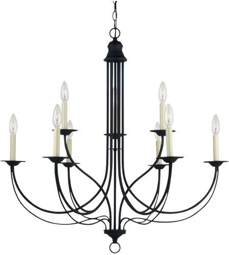 Sea Gull 31295-839 Plymouth 9 Light 34 inch Blacksmith Chandelier Ceiling Light photo