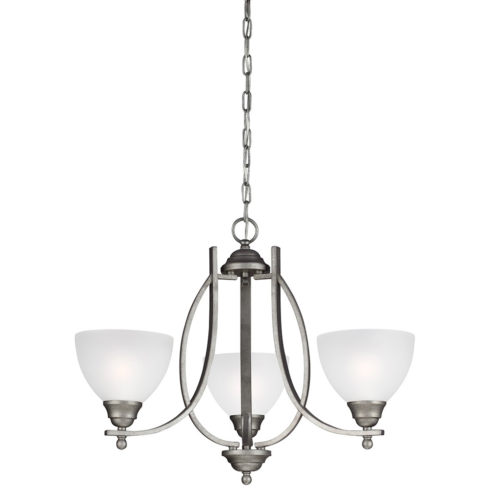 Sea Gull Vitelli 3 Light Chandelier Single-Tier in Weathered Pewter 3131403-57 photo