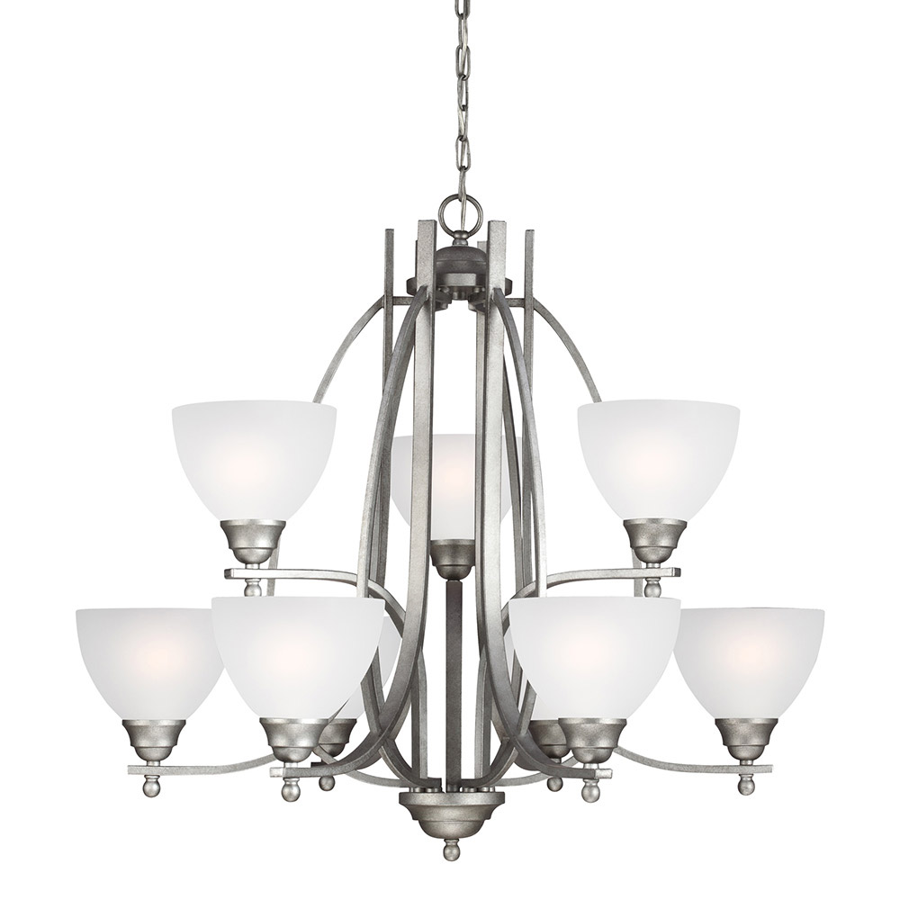 Sea Gull 3131409BLE-57 Vitelli 9 Light 33 inch Weathered Pewter Chandelier Multi-Tier Ceiling Light in Fluorescent photo