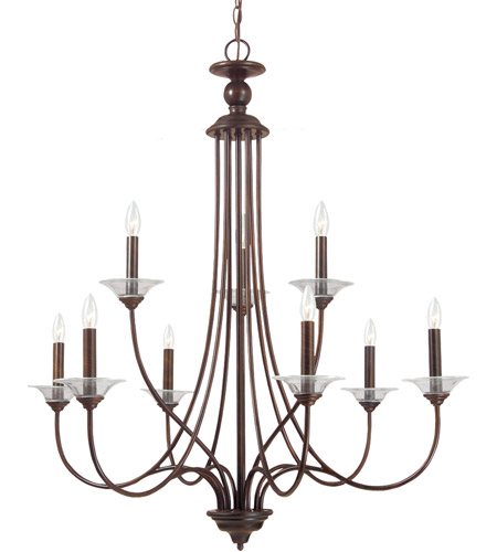Sea Gull 31319-710 Lemont 9 Light 34 inch Burnt Sienna Chandelier Ceiling Light photo