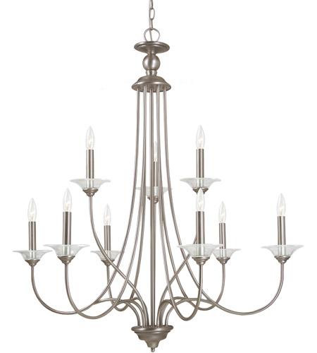 Sea Gull Lighting Lemont 9 Light Chandelier in Antique Brushed Nickel 31319-965