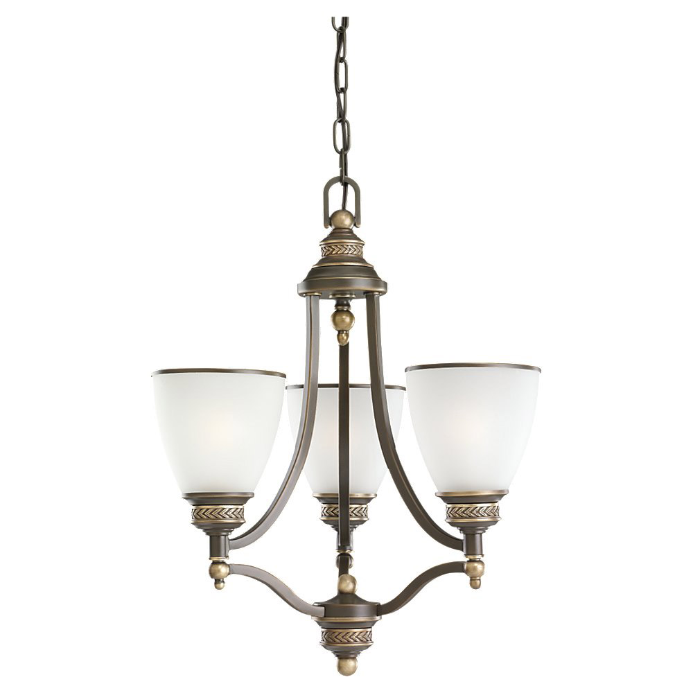 Sea Gull Lighting Laurel Leaf 3 Light Chandelier in Estate Bronze 31349-708