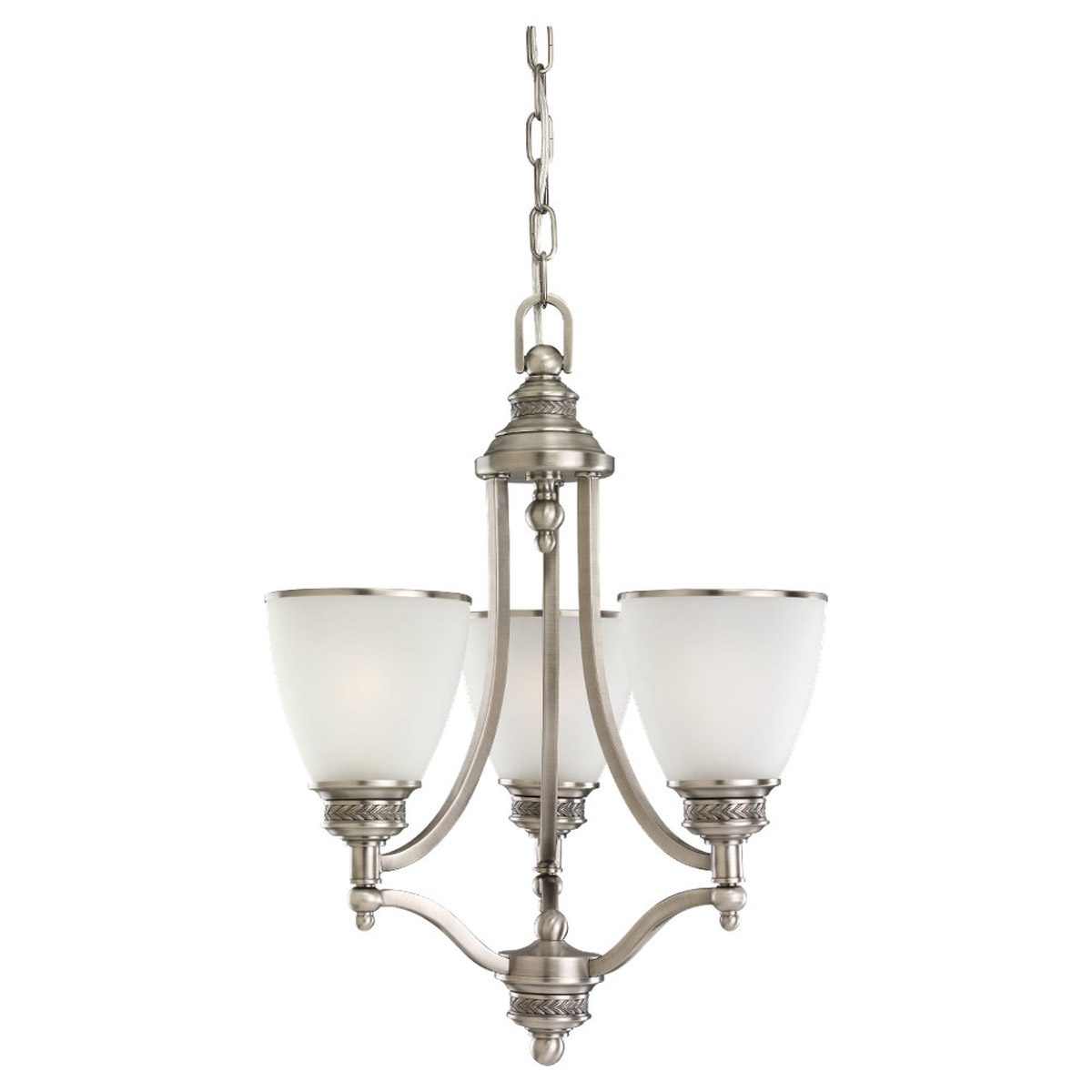 Sea Gull Lighting Laurel Leaf 3 Light Chandelier in Antique Brushed Nickel 31349-965
