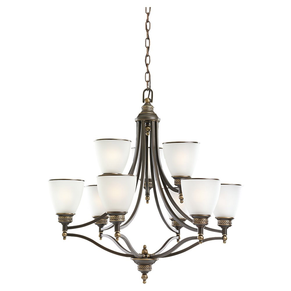 Sea Gull Lighting Laurel Leaf 9 Light Chandelier in Estate Bronze 31351-708