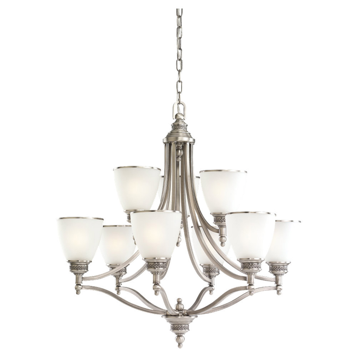 Sea Gull 31351-965 Laurel Leaf 9 Light 30 inch Antique Brushed Nickel Chandelier Ceiling Light photo