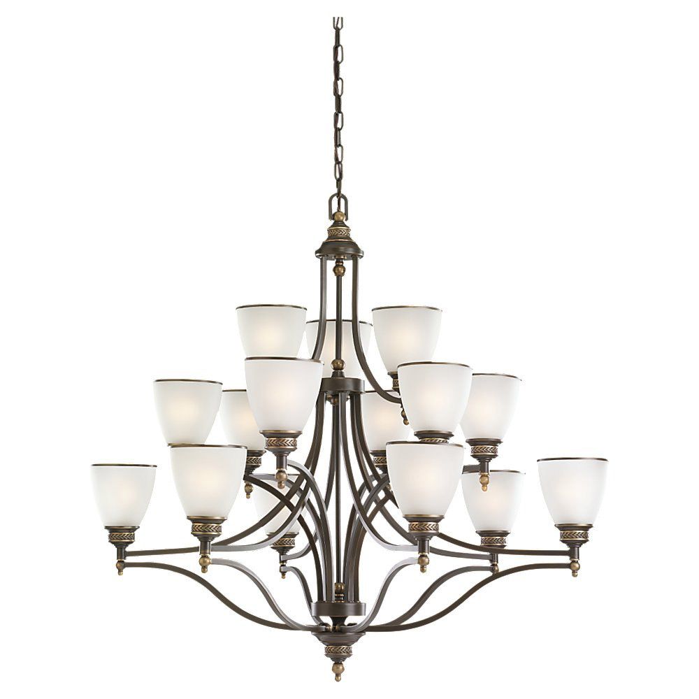Sea Gull 31352-708 Laurel Leaf 15 Light 42 inch Estate Bronze Chandelier Ceiling Light photo