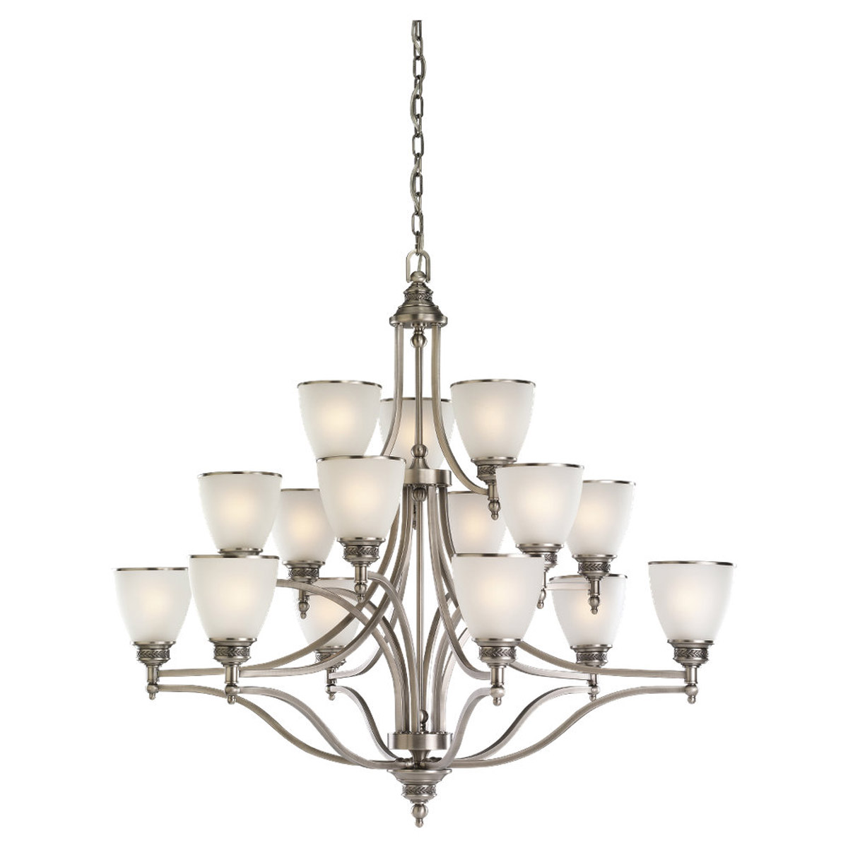 Sea Gull Lighting Laurel Leaf 15 Light Chandelier in Antique Brushed Nickel 31352-965