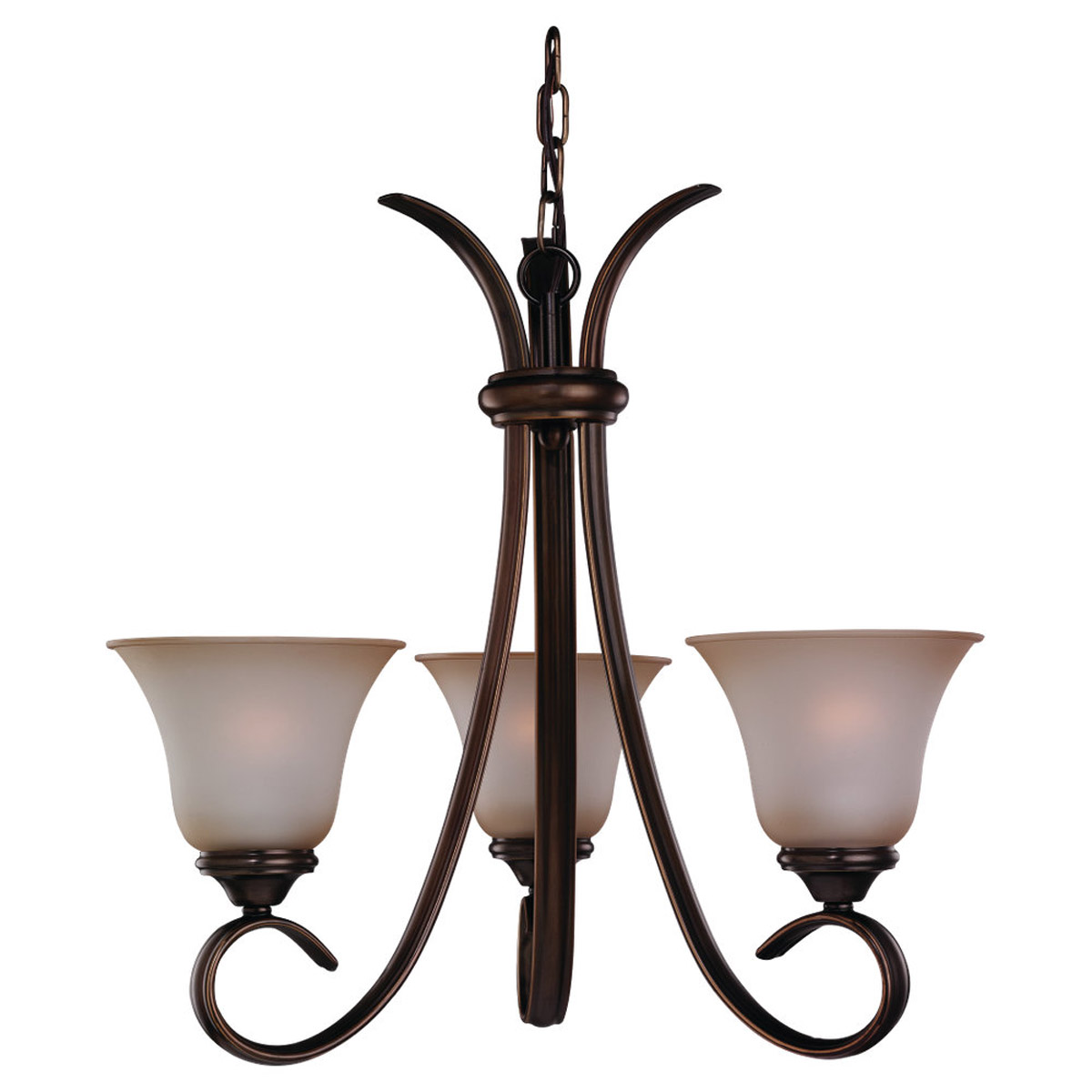 Sea Gull 31360-829 Rialto 3 Light 22 inch Russet Bronze Chandelier Ceiling Light in Ginger Glass photo
