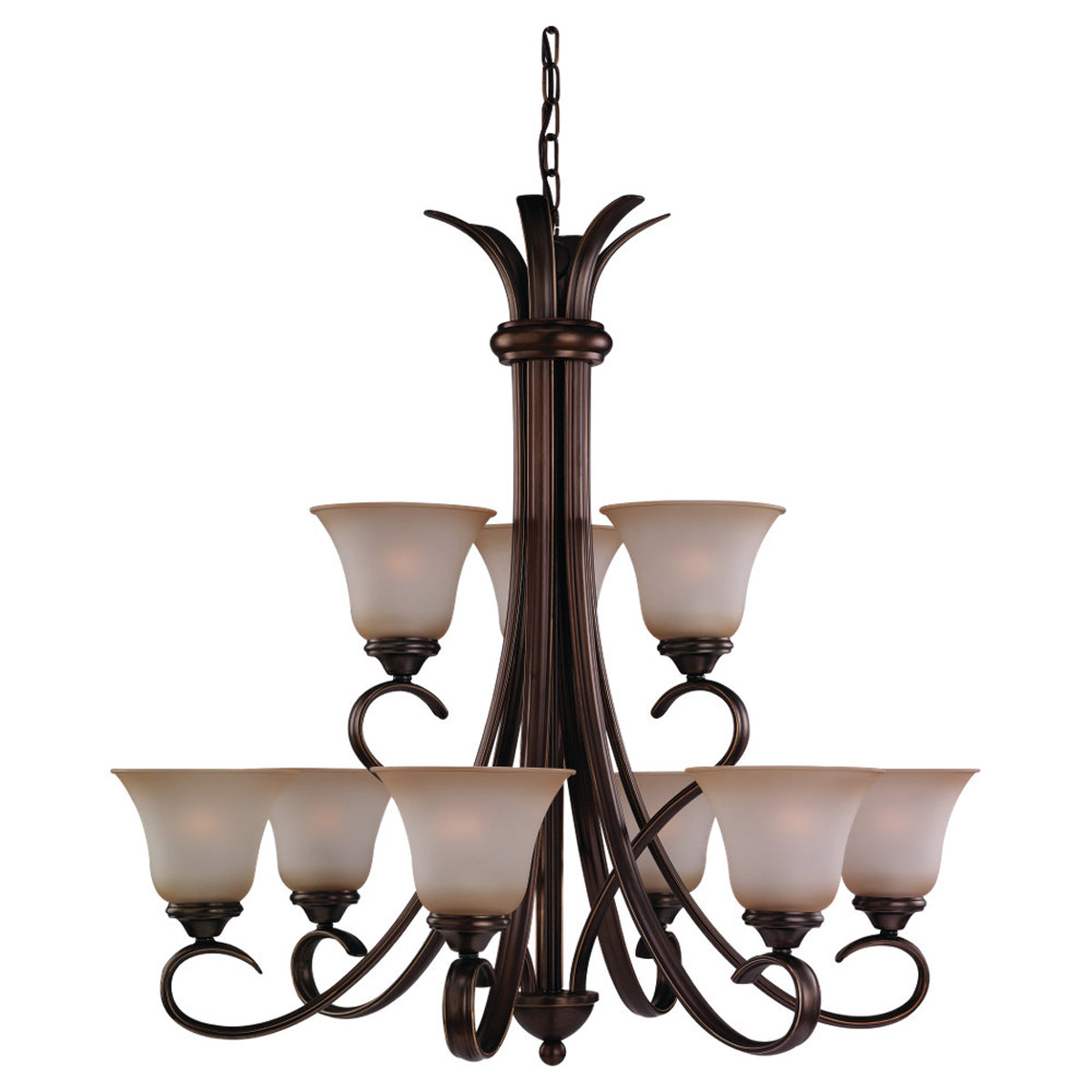 Sea Gull 31362-829 Rialto 9 Light 32 inch Russet Bronze Chandelier Ceiling Light in Ginger Glass photo