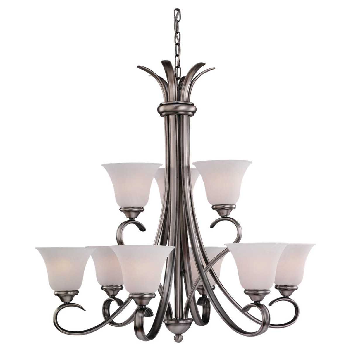 Sea Gull 31362-965 Rialto 9 Light 32 inch Antique Brushed Nickel Chandelier Ceiling Light in Etched White Alabaster Glass photo