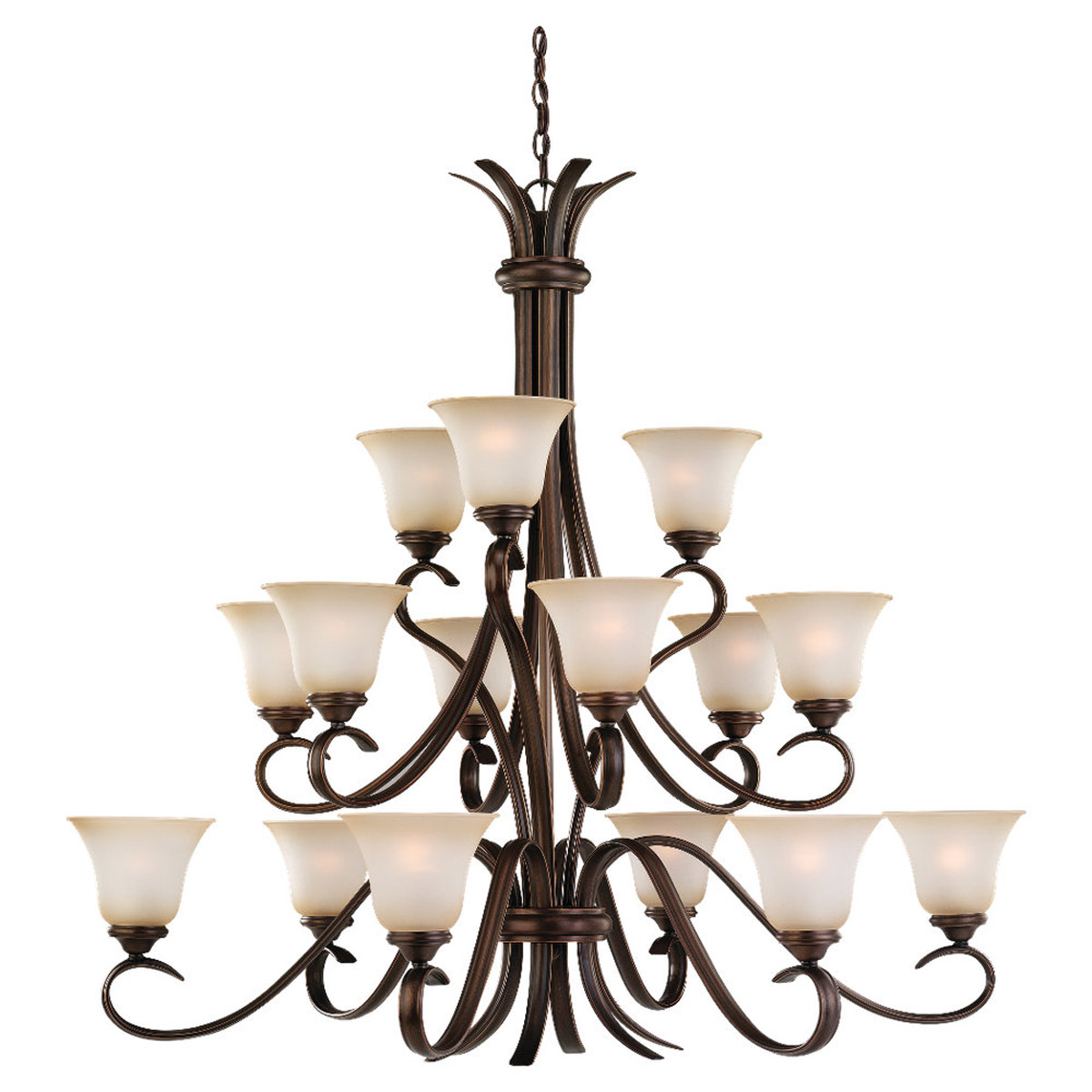 Sea Gull 31363-829 Rialto 15 Light 45 inch Russet Bronze Chandelier Ceiling Light in Ginger Glass photo