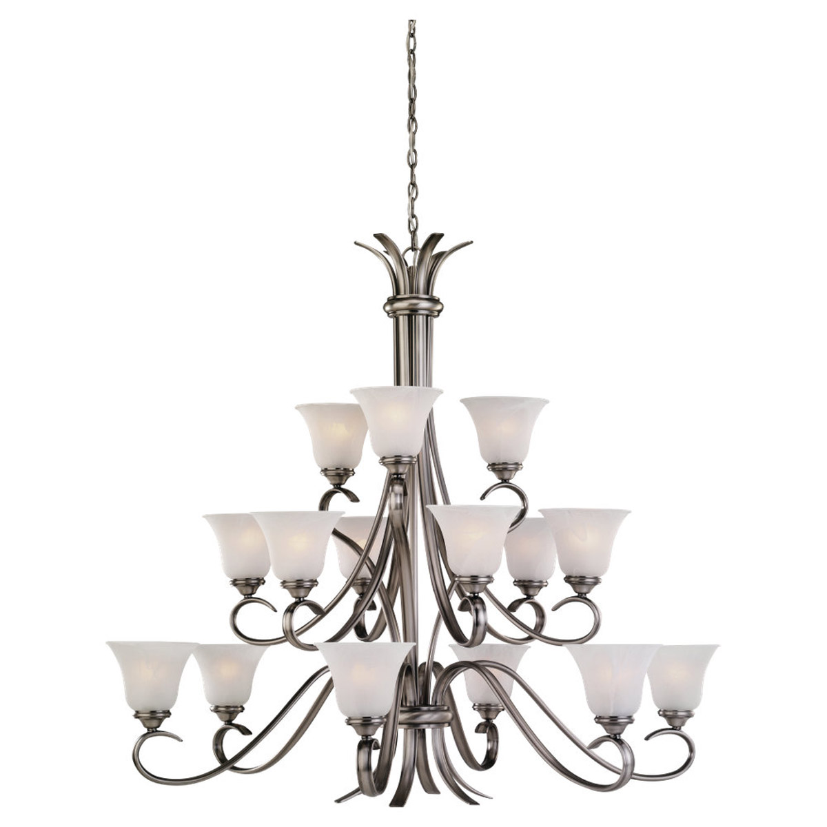 Sea Gull Lighting Rialto 15 Light Chandelier in Antique Brushed Nickel 31363-965
