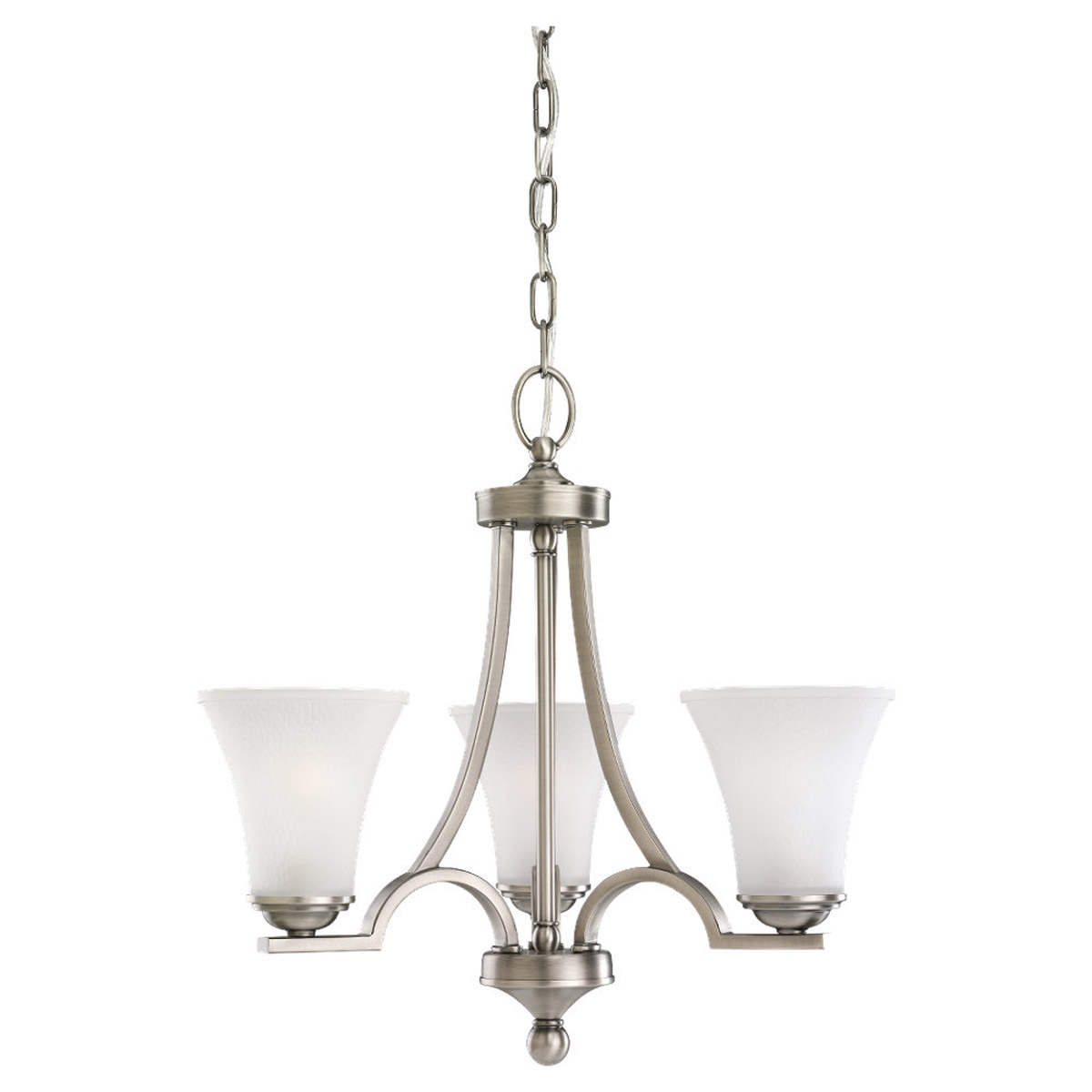 Sea Gull 31375-965 Somerton 3 Light 20 inch Antique Brushed Nickel Chandelier Ceiling Light in Satin Etched Glass, Standard photo