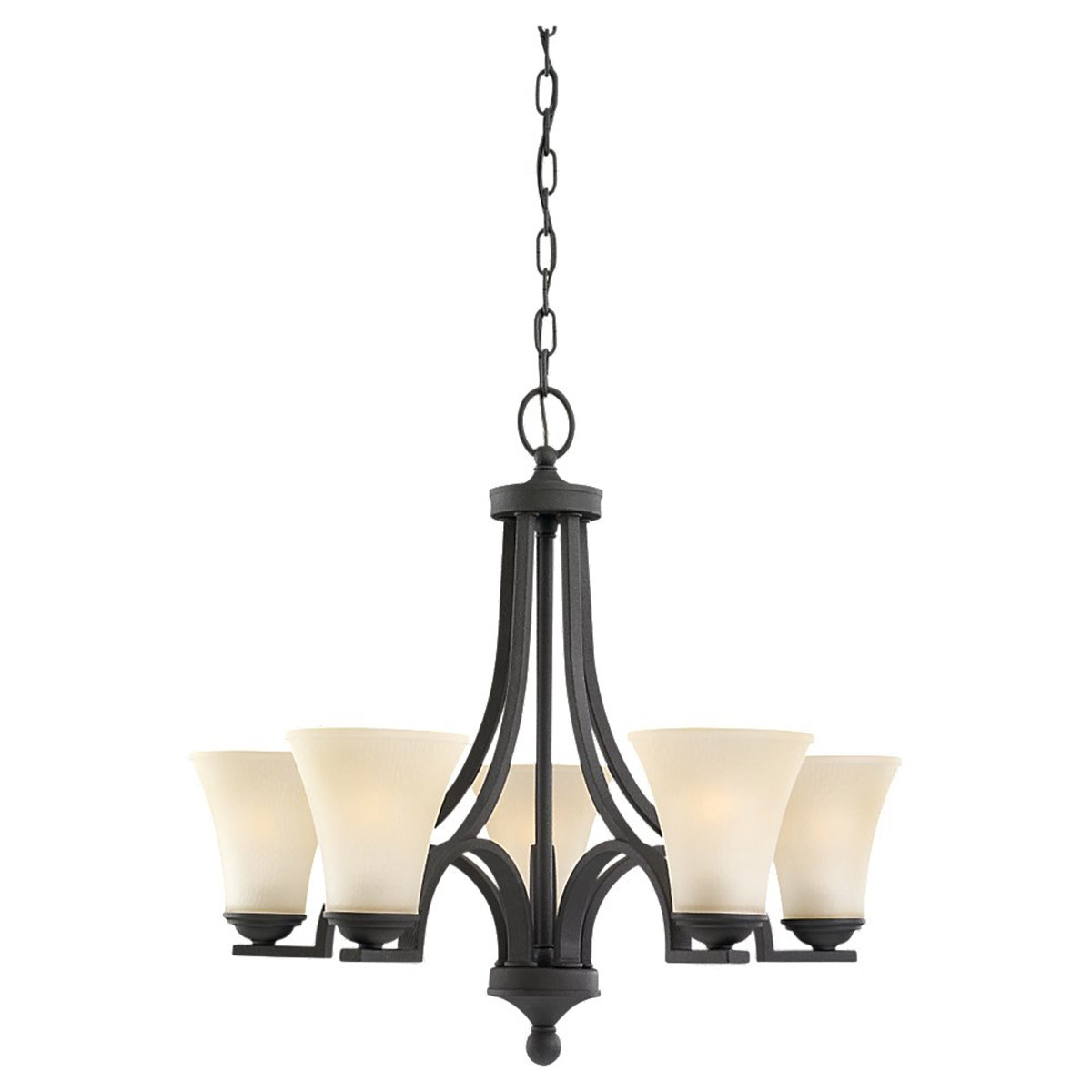 Sea Gull 31376BLE-839 Somerton 5 Light 25 inch Blacksmith Chandelier Single-Tier Ceiling Light in Cafe Tint Glass, Fluorescent photo