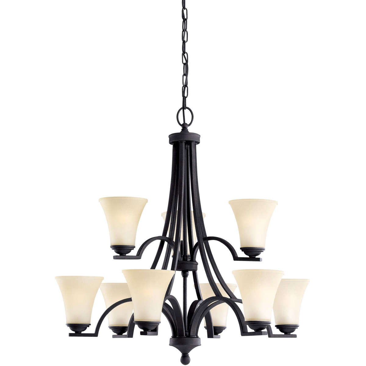 Sea Gull 31377BLE-839 Somerton 9 Light 30 inch Blacksmith Chandelier Multi-Tier Ceiling Light in Cafe Tint Glass, Fluorescent photo