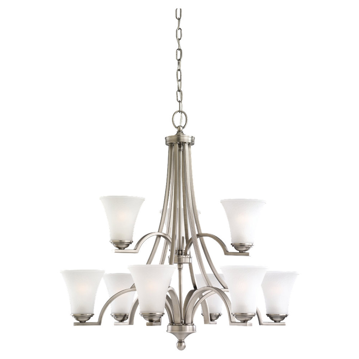 Sea Gull 31377-965 Somerton 9 Light 30 inch Antique Brushed Nickel Chandelier Ceiling Light in Satin Etched Glass, Standard photo