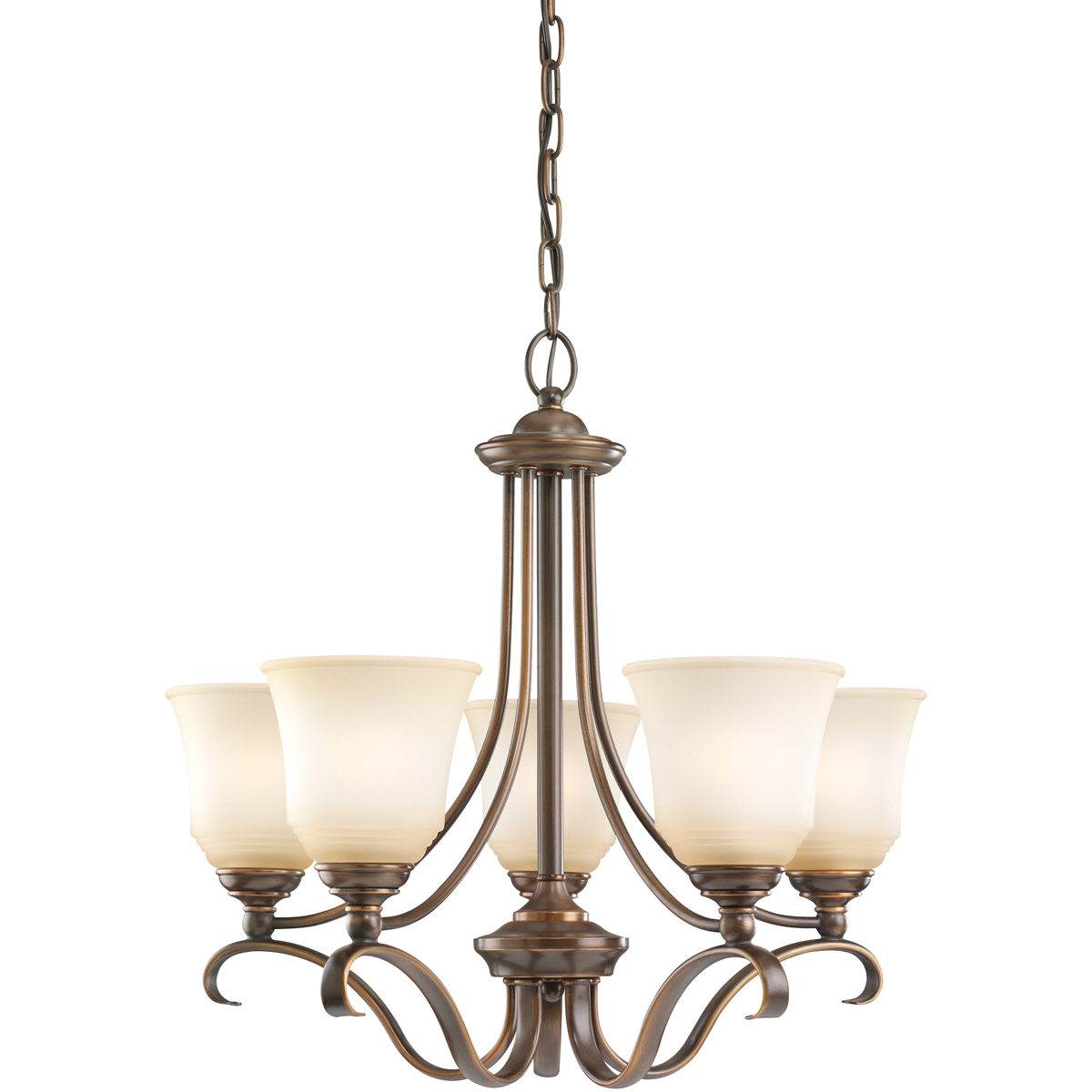 Sea Gull 31380-829 Parkview 5 Light 24 inch Russet Bronze Chandelier Ceiling Light in Ginger Glass photo
