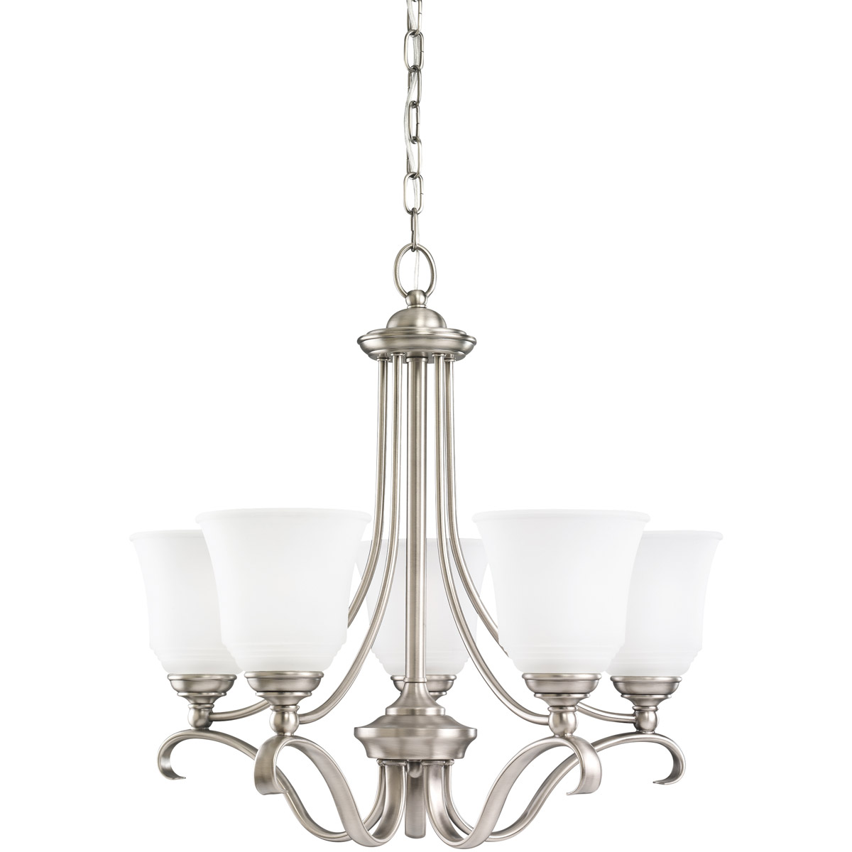 Sea Gull 31380-965 Parkview 5 Light 24 inch Antique Brushed Nickel Chandelier Ceiling Light in Satin Etched Glass photo