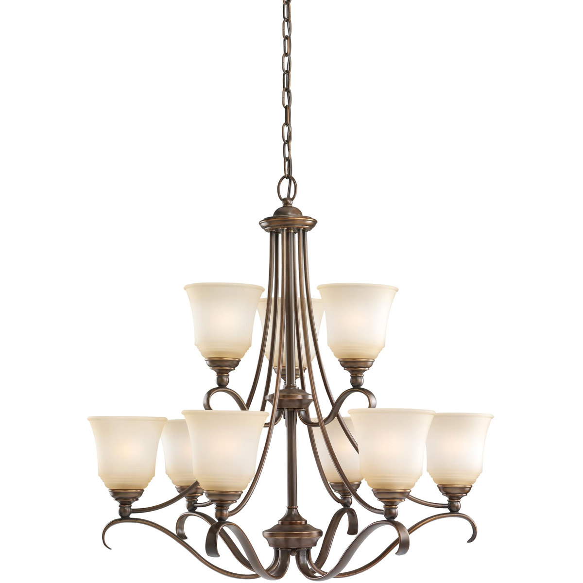 Sea Gull 31381-829 Parkview 9 Light 31 inch Russet Bronze Chandelier Ceiling Light in Ginger Glass photo
