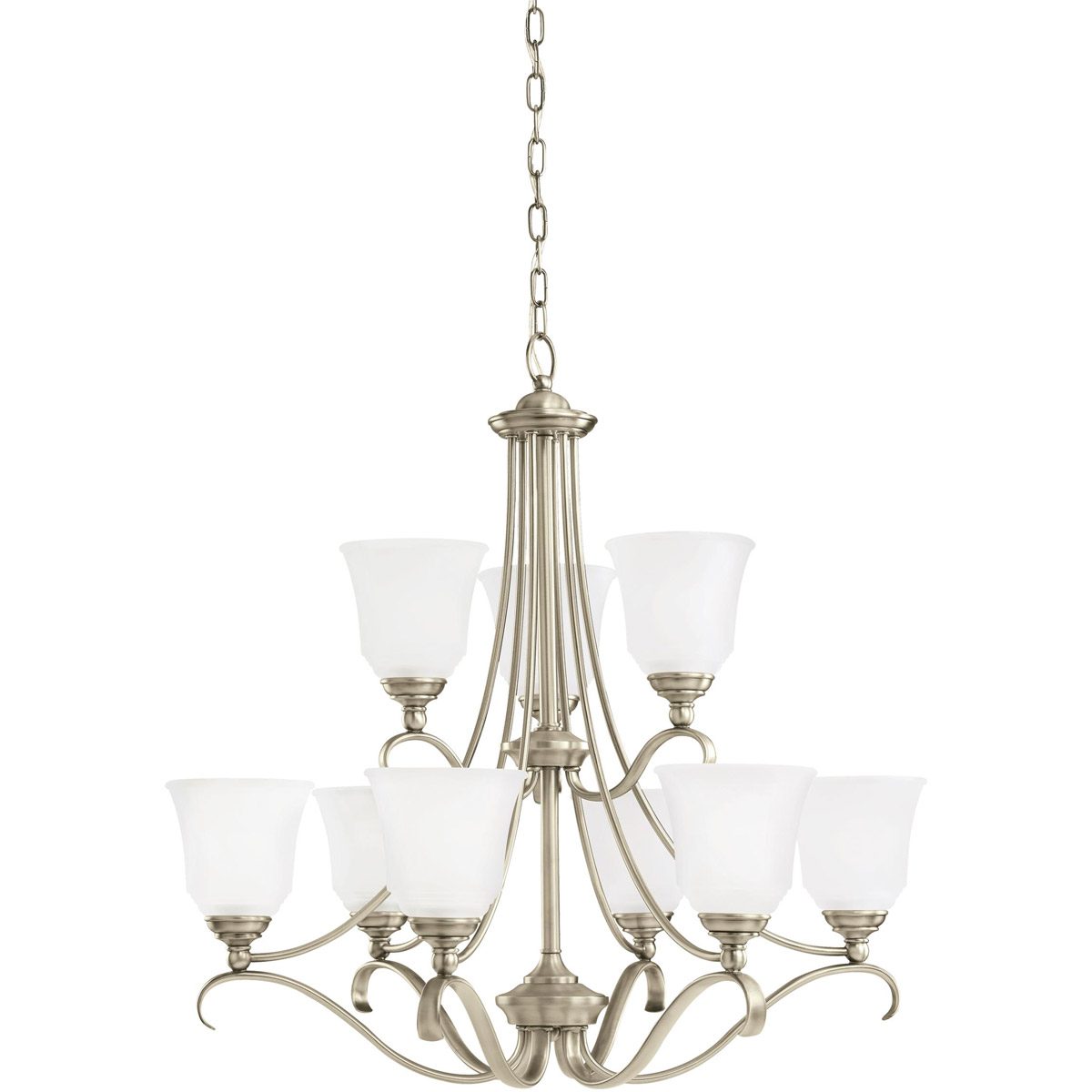 Sea Gull 31381-965 Parkview 9 Light 31 inch Antique Brushed Nickel Chandelier Ceiling Light in Satin Etched Glass photo