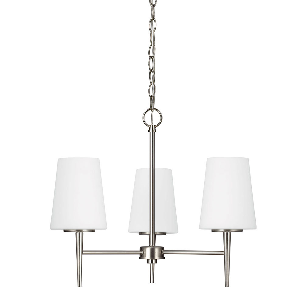 Sea Gull Driscoll 3 Light Chandelier Single-Tier in Brushed Nickel 3140403-962