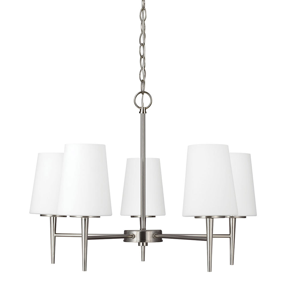 Sea Gull 3140405BLE-962 Driscoll 5 Light 25 inch Brushed Nickel Chandelier Single-Tier Ceiling Light in Fluorescent photo
