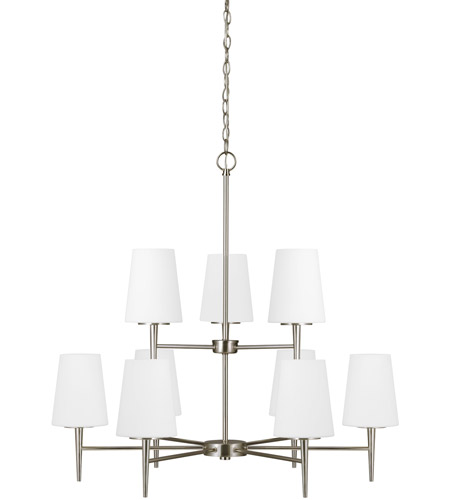 Sea Gull Driscoll 9 Light Chandelier Multi-Tier in Brushed Nickel 3140409-962