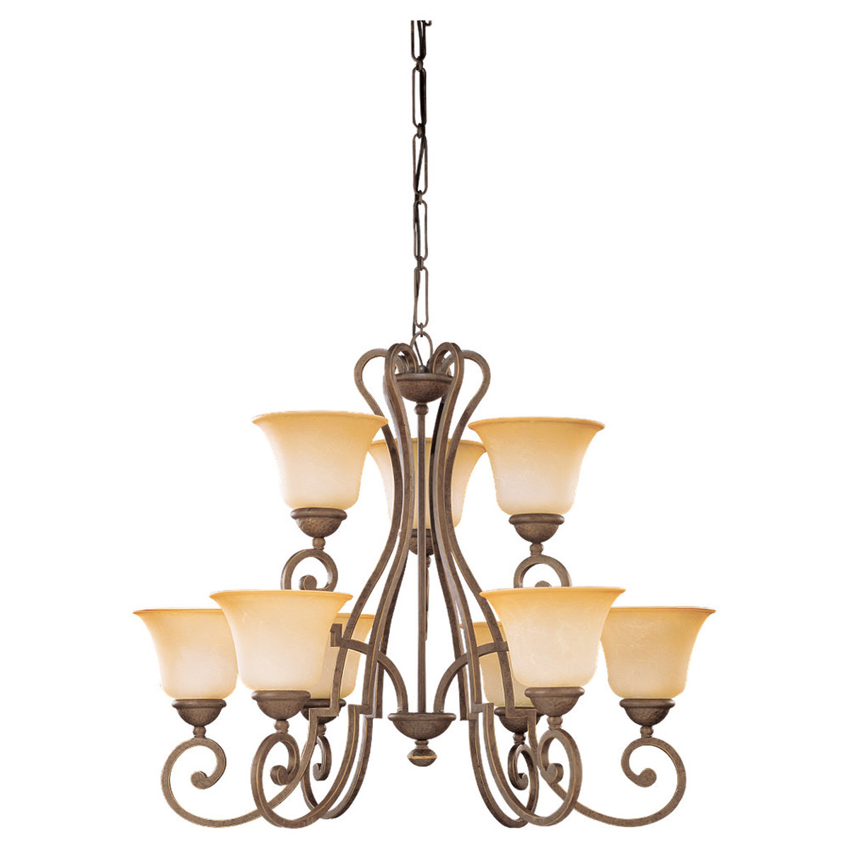 Sea Gull Lighting Brandywine 9 Light Chandelier in Antique Bronze 31432-71 photo