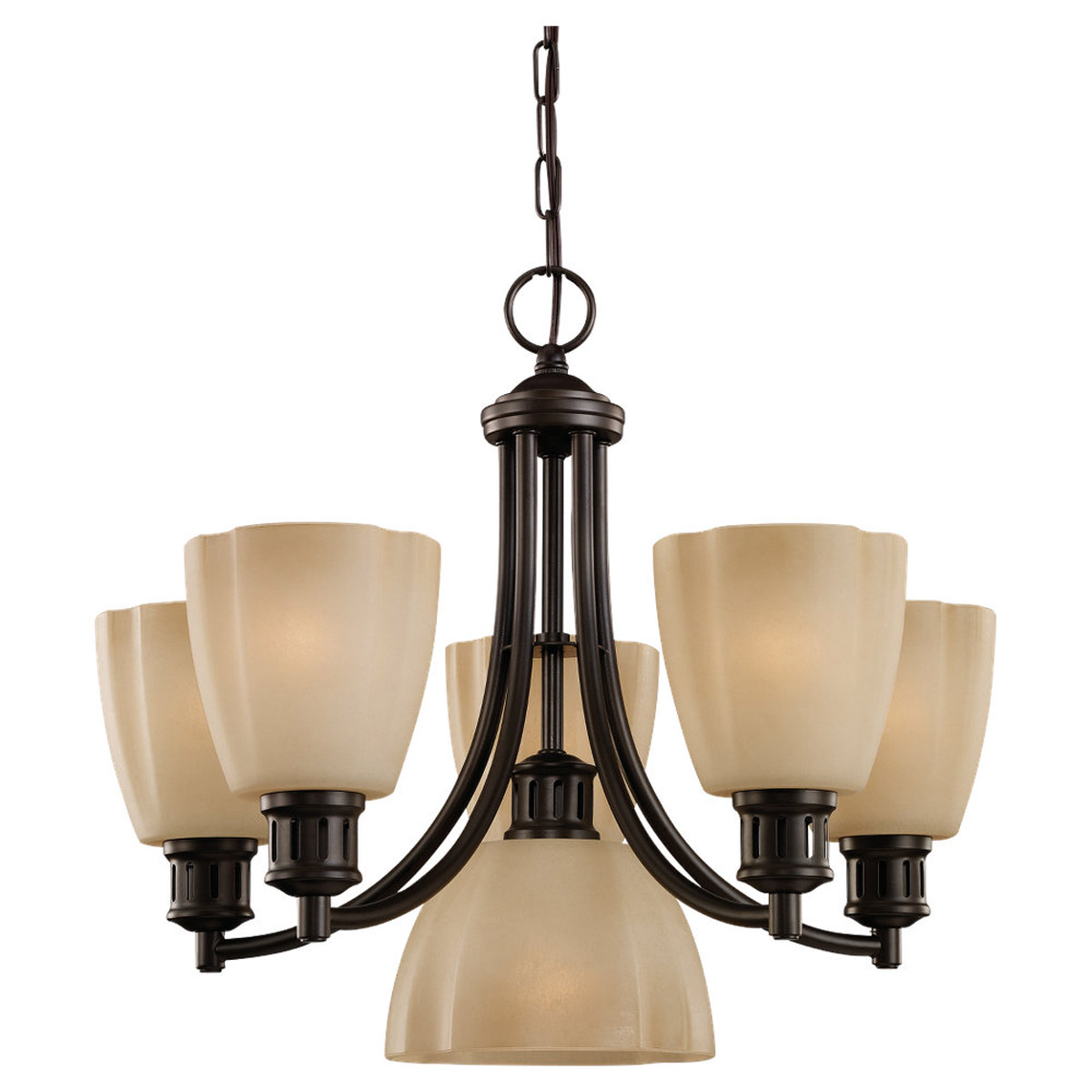 Sea Gull Lighting Century 6 Light Chandelier in Heirloom Bronze 31476-782