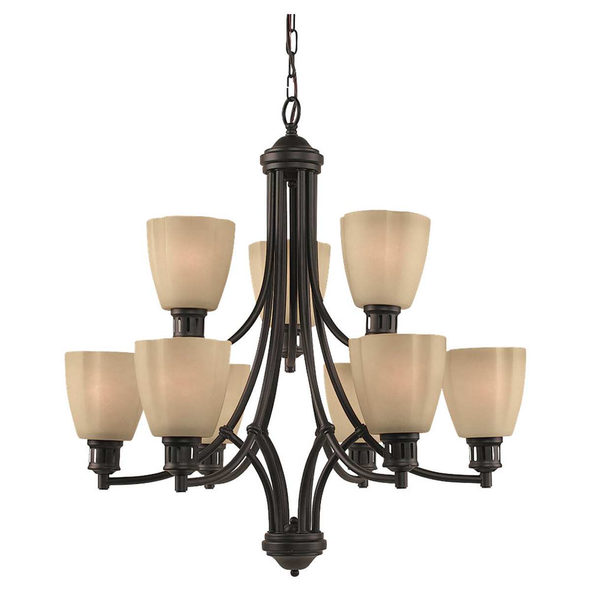 Sea Gull Lighting Century 9 Light Chandelier in Heirloom Bronze 31477-782